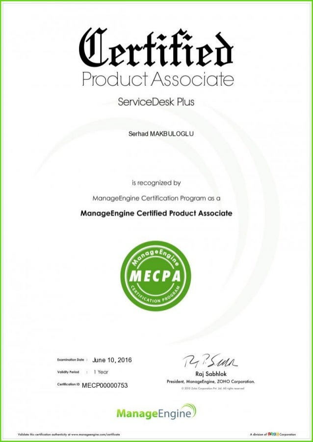 Manage Engine Certified Product Associate (MECPA)