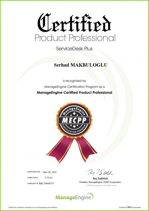 Manage Engine Certified Product Professional (MECPP)