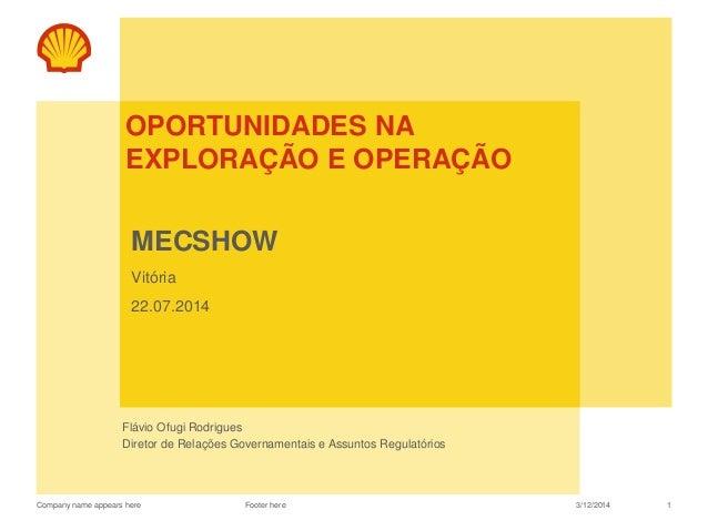 Company name appears here OPORTUNIDADES NA EXPLORAÇÃO E OPERAÇÃO MECSHOW Vitória 22.07.2014 Flávio Ofugi Rodrigues Diretor...