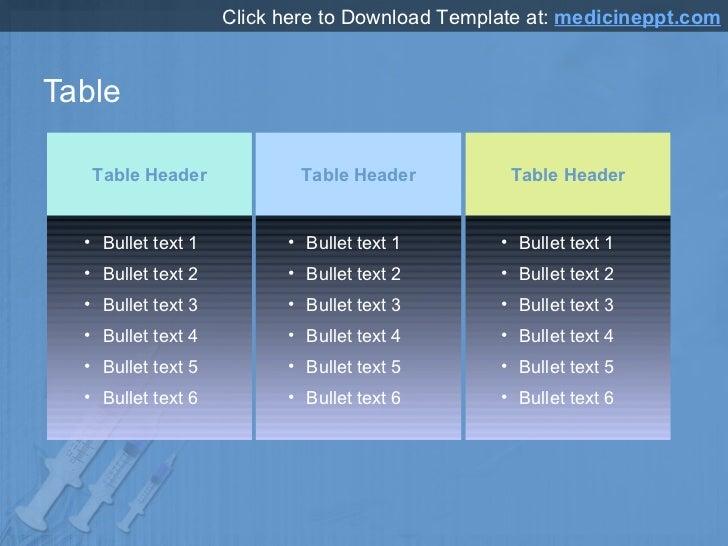 Table Table Header Table Header Table Header <ul><li>Bullet text 1 </li></ul><ul><li>Bullet text 2 </li></ul><ul><li>Bulle...