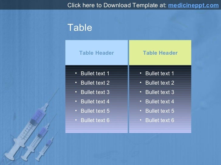 Table Table Header Table Header <ul><li>Bullet text 1 </li></ul><ul><li>Bullet text 2 </li></ul><ul><li>Bullet text 3 </li...