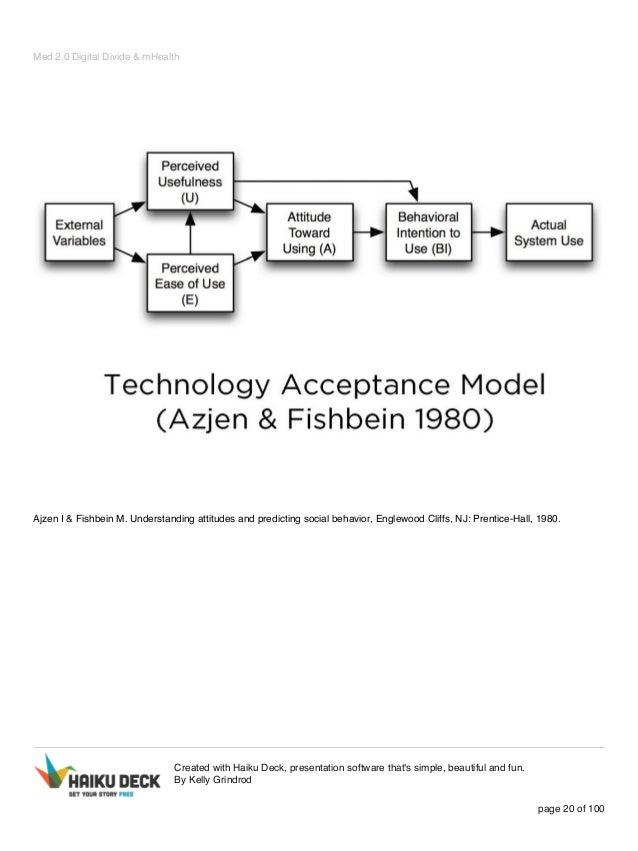 Med 2.0 Digital Divide & mHealth Ajzen I & Fishbein M. Understanding attitudes and predicting social behavior, Englewood C...