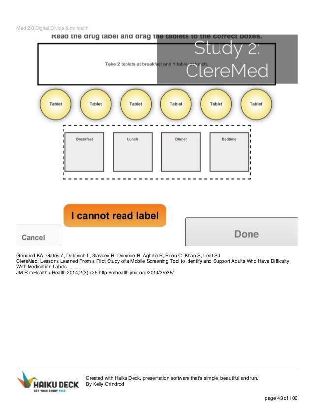 Med 2.0 Digital Divide & mHealth Grindrod KA, Gates A, Dolovich L, Slavcev R, Drimmie R, Aghaei B, Poon C, Khan S, Leat SJ...