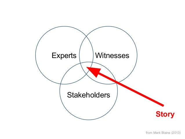 Experts  Witnesses  Stakeholders Story from Mark Blaine (2013)