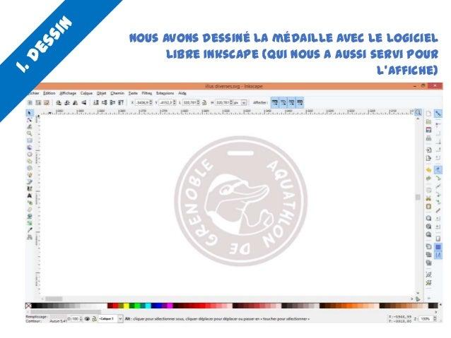Nous avons dessiné la médaille avec le logiciel libre Inkscape (qui nous a aussi servi pour l'affiche)