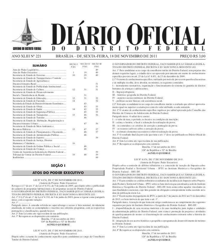 ANO XLIII Nº 221                                                 BRASÍLIA – DF, SEXTA-FEIRA, 18 DE NOVEMBRO DE 2011       ...