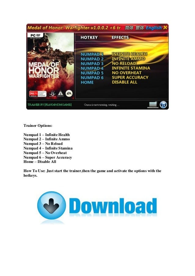 Medal of honor warfighter trainer download