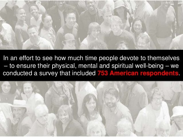 In an effort to see how much time people devote to themselves – to ensure their physical, mental and spiritual well-being ...