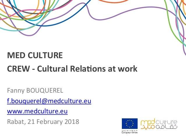MEDCULTURE CREW-CulturalRela2onsatwork FannyBOUQUEREL f.bouquerel@medculture.eu www.medculture.eu Rabat,21...