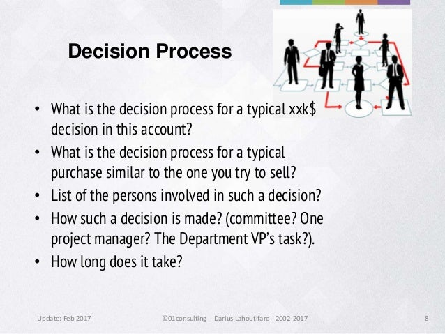 Update: Feb 2017 ©01consulting - Darius Lahoutifard - 2002-2017 8 Decision Process • What is the decision process for a ty...