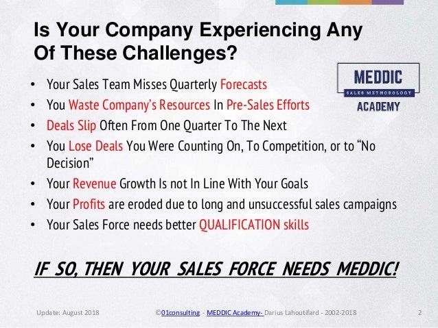 Meddic Sales by MEDDIC Academy - 2018  Slide 2