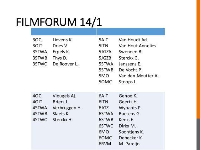 FILMFORUM 14/1 3OC Lievens K. 3OIT Dries V. 3STWA Erpels K. 3STWB Thys D. 3STWC De Roover L. 5AIT Van Houdt Ad. 5ITN Van H...