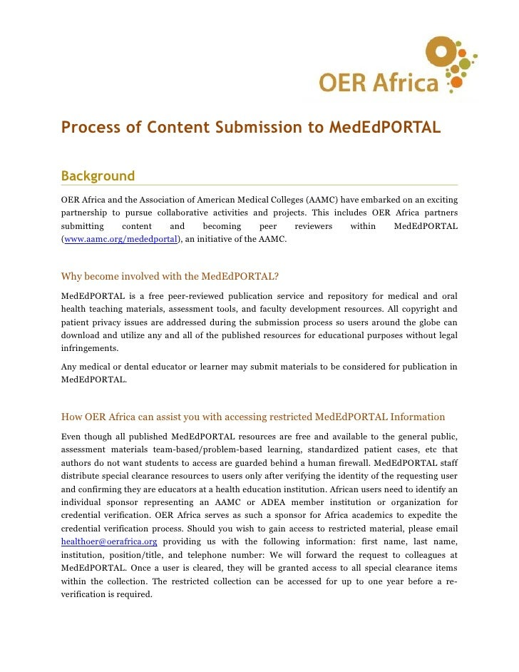 Process of Content Submission to MedEdPORTALBackgroundOER Africa and the Association of American Medical Colleges (AAMC) h...