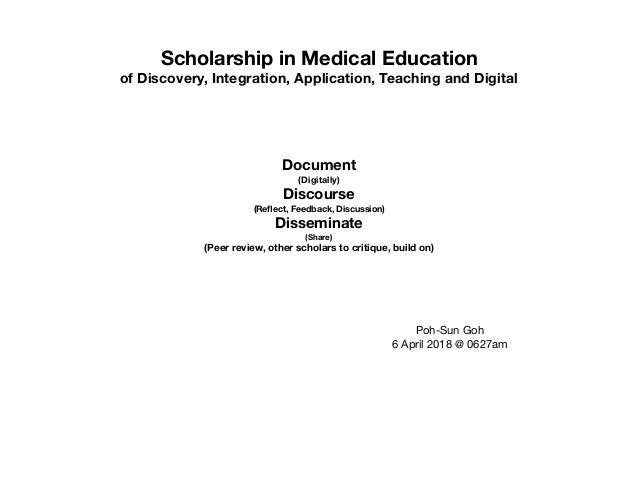 Scholarship in Medical Education of Discovery, Integration, Application, Teaching and Digital Document (Digitally) Discour...