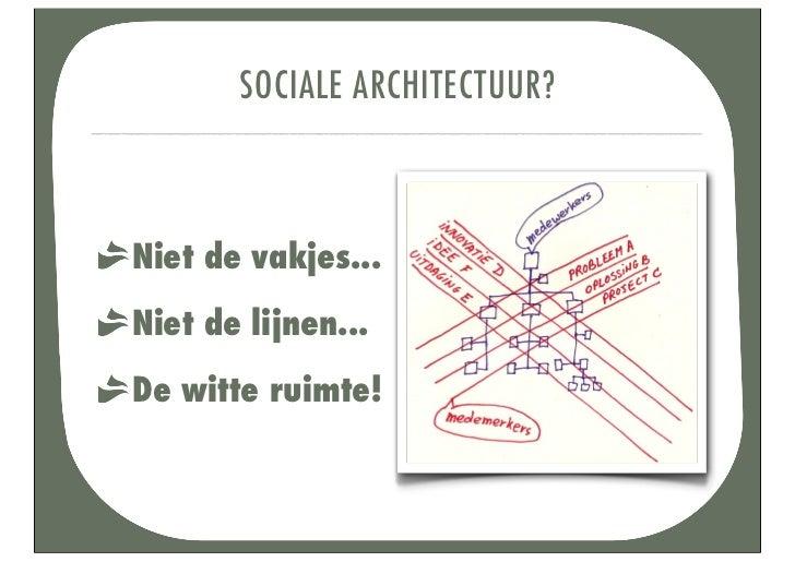 WAT EEN SOCIALE ARCHITECT DOET?bouwt een platformconnecteert mensengeeft ruimteis zelf voorbeeld van transparantiekent zij...