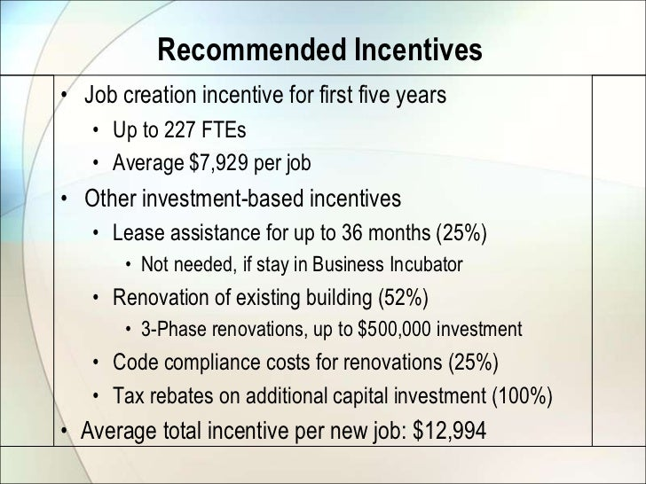 Recommended Incentives• Job creation incentive for first five years   • Up to 227 FTEs   • Average $7,929 per job• Other i...
