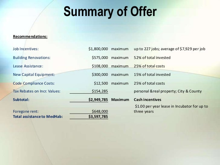 Summary of OfferRecommendations:Job Incentives:                    $1,800,000 maximum   up to 227 jobs; average of $7,929 ...