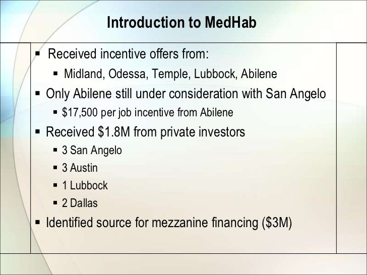 Introduction to MedHab Received incentive offers from:    Midland, Odessa, Temple, Lubbock, Abilene Only Abilene still ...