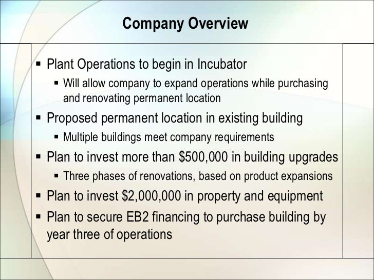 Company Overview Plant Operations to begin in Incubator    Will allow company to expand operations while purchasing     ...