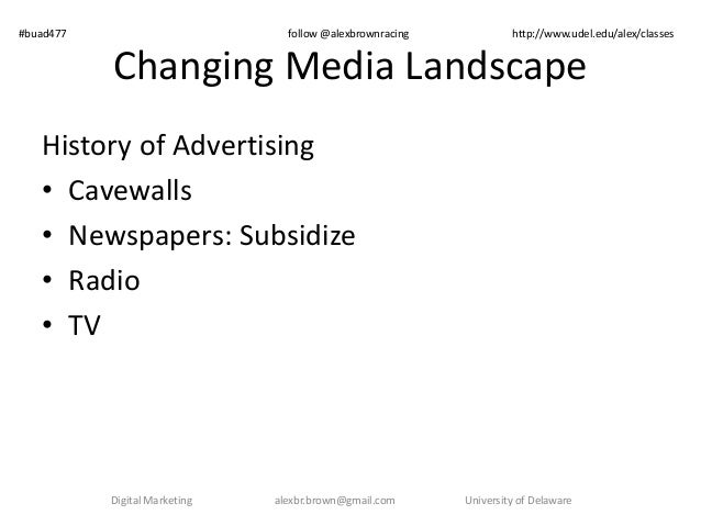 Changing Media Landscape History of Advertising • Cavewalls • Newspapers: Subsidize • Radio • TV Digital Marketing alexbr....