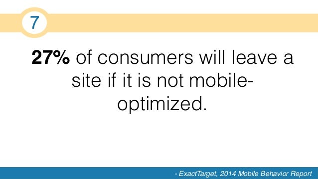 27% of consumers will leave a site if it is not mobile- optimized.! - ExactTarget, 2014 Mobile Behavior Report 7!