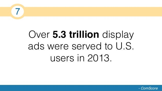 Over 5.3 trillion display ads were served to U.S. users in 2013.! - ComScore 7!