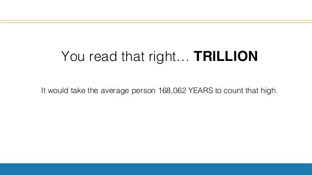 You read that right… TRILLION! ! It would take the average person 168,062 YEARS to count that high.!