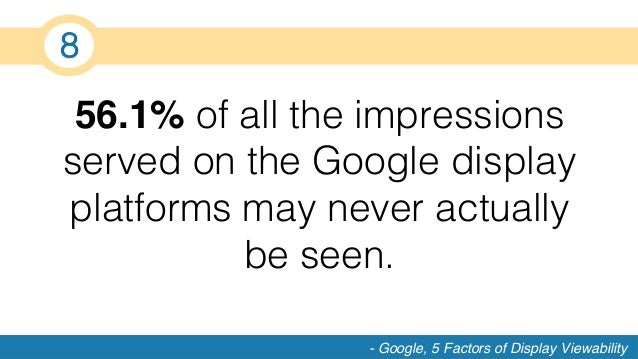 56.1% of all the impressions served on the Google display platforms may never actually be seen.! - Google, 5 Factors of Di...