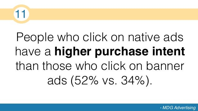People who click on native ads have a higher purchase intent than those who click on banner ads (52% vs. 34%).! - MDG Adve...