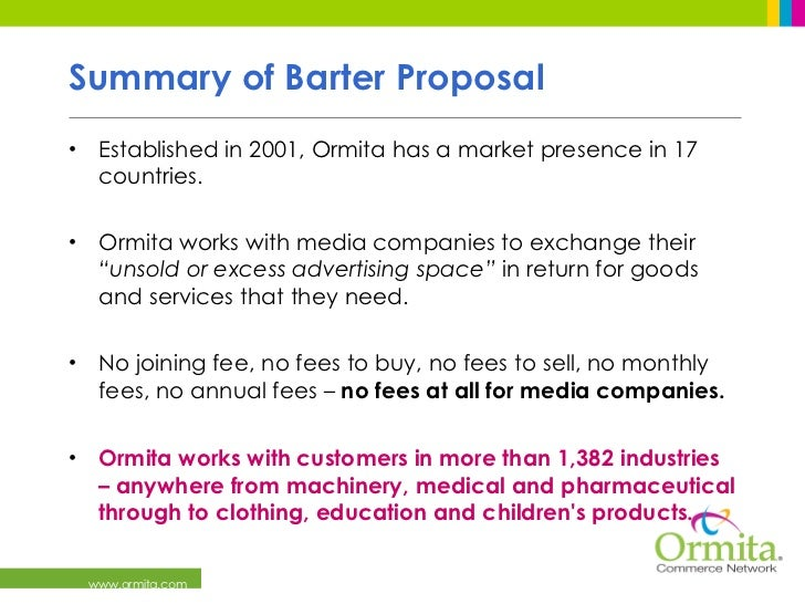 Media Barter with Ormita