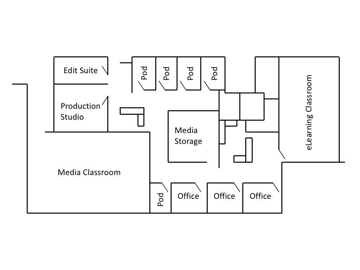 Edit Suite<br />Pod<br />Pod<br />Pod<br />Pod<br />Production<br />Studio<br />eLearning Classroom<br />Media<br />Storag...