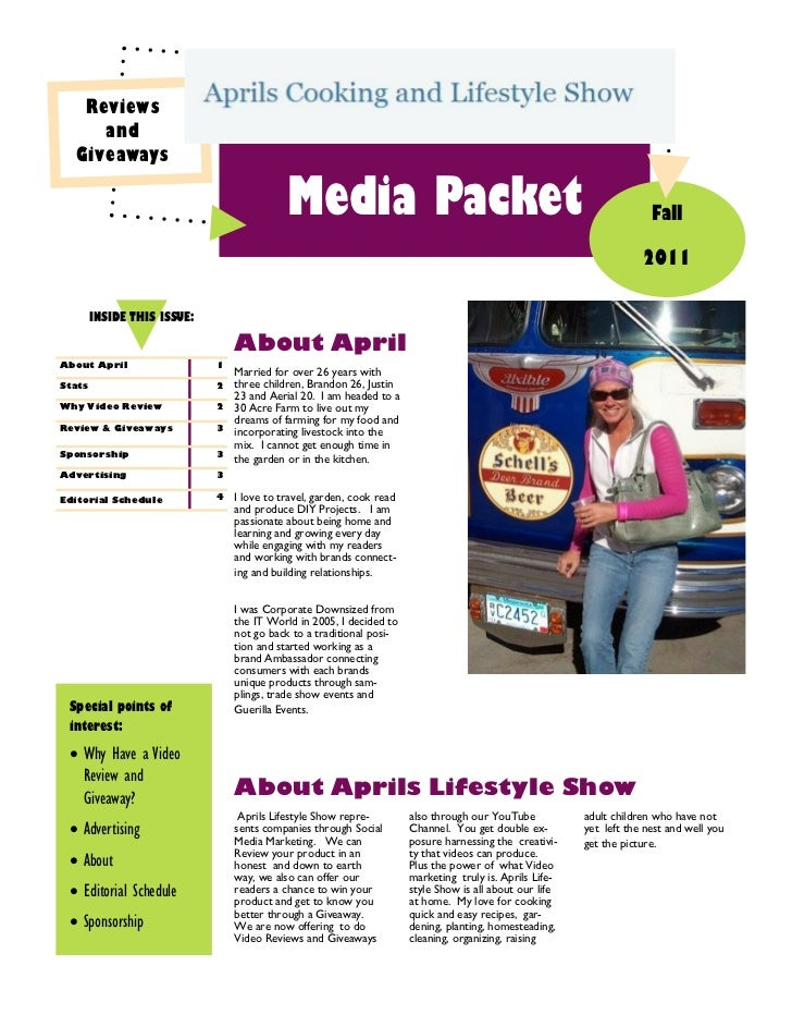 Reviews     and  Giveaways                                            Media Packet                                        ...