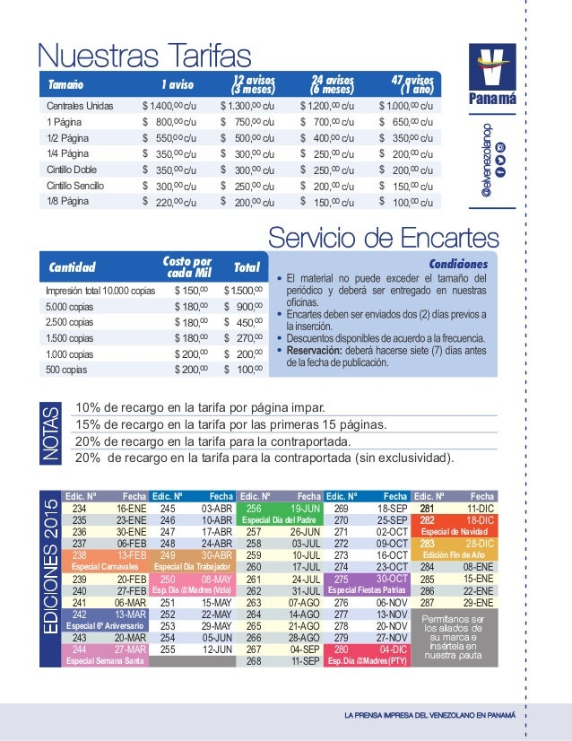 LA PRENSA IMPRESA DEL VENEZOLANO EN PANAMÁ Panamá @elvenezolanop 234 235 236 237 238 239 240 241 242 243 244 16-ENE 23-ENE...