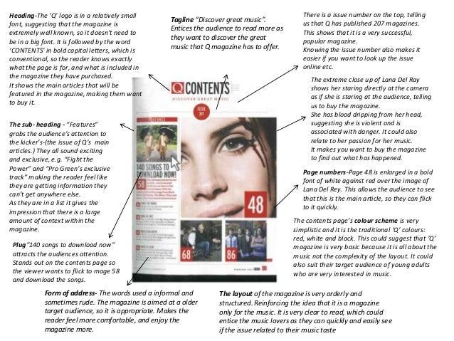 As media coursework magazine analysis