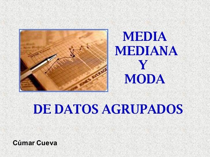 MEDIA  MEDIANA Y  MODA Cúmar Cueva DE DATOS AGRUPADOS