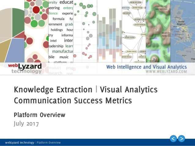 1 Knowledge Extraction | Visual Analytics Communication Success Metrics Platform Overview July 2017 webLyzard technology |...