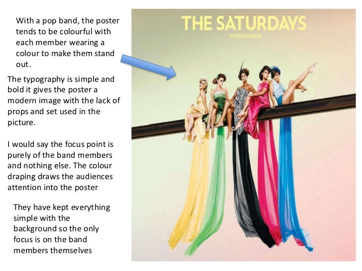 With a pop band, the poster  tends to be colourful with  each member wearing a  colour to make them stand  out.The typogra...