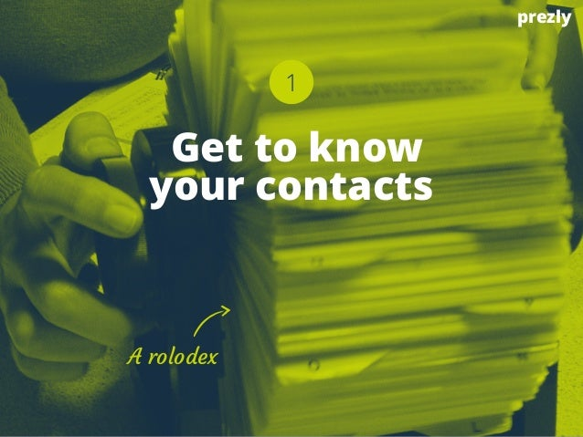 1  Get to know  your contacts  A rolodex  prezly