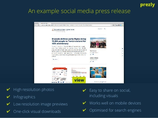 An example social media press release  prezly  ✔ High resolution photos  ✔ Infographics  ✔ Low resolution image previews  ...