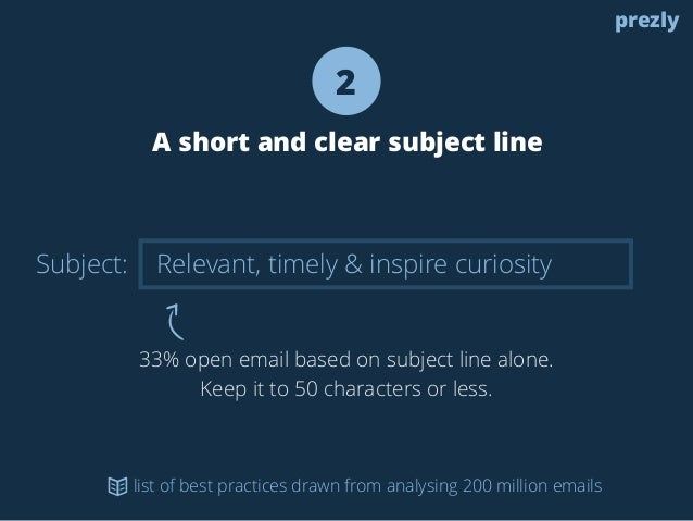 Subject:  2  A short and clear subject line  Relevant, timely & inspire curiosity  33% open email based on subject line al...