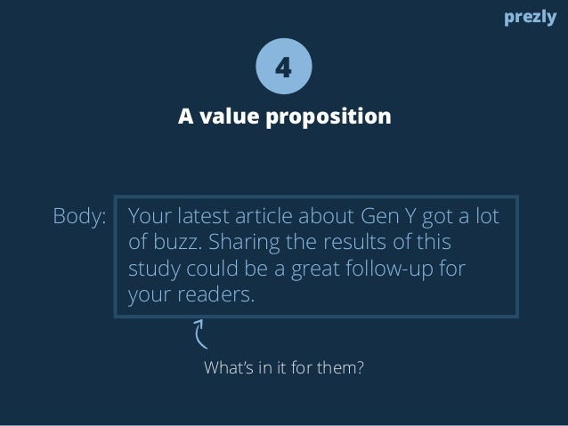 Body:  4  A value proposition  Your latest article about Gen Y got a lot  of buzz. Sharing the results of this  study coul...