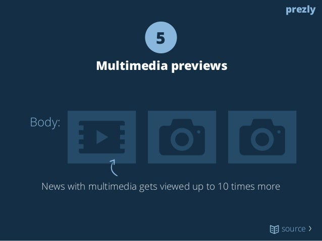 Body:  5  Multimedia previews  News with multimedia gets viewed up to 10 times more  prezly  source 〉