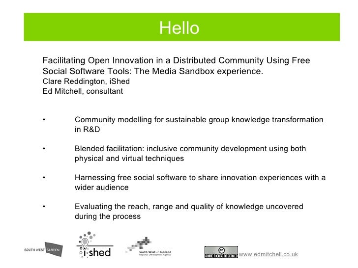 Social model: things you can do <ul><li>Facilitating Open Innovation in a Distributed Community Using Free Social Software...