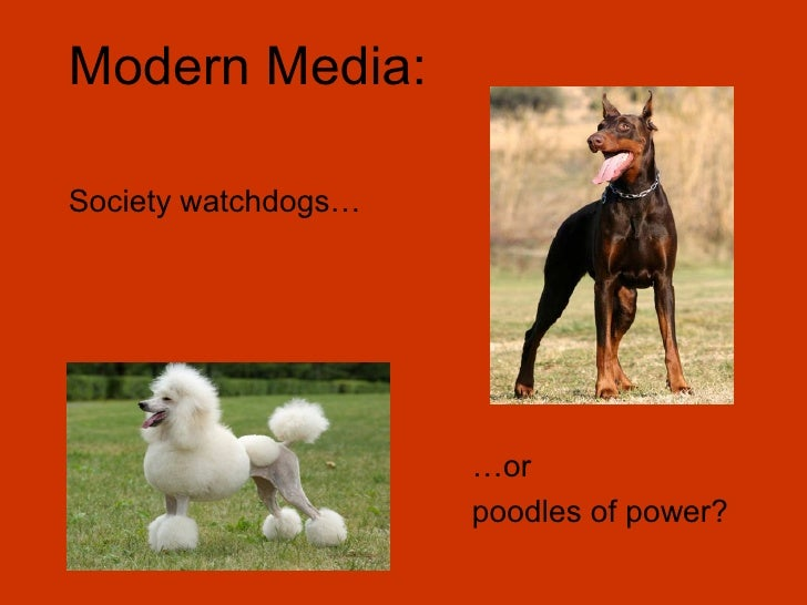 Modern Media:Society watchdogs…                     …or                     poodles of power?
