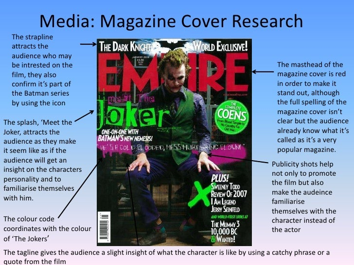 Media: Magazine Cover Research<br />The strapline attracts the audience who may be intrested on the film, they also confir...