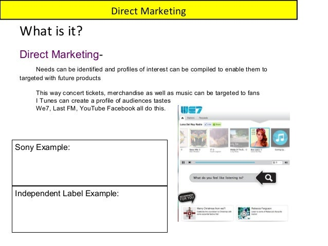 Direct Marketing What is it? Direct Marketing-       Needs can be identified and profiles of interest can be compiled to e...