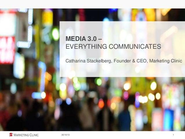 MEDIA 3.0 – EVERYTHING COMMUNICATES Catharina Stackelberg, Founder & CEO, Marketing Clinic  30/10/13  1