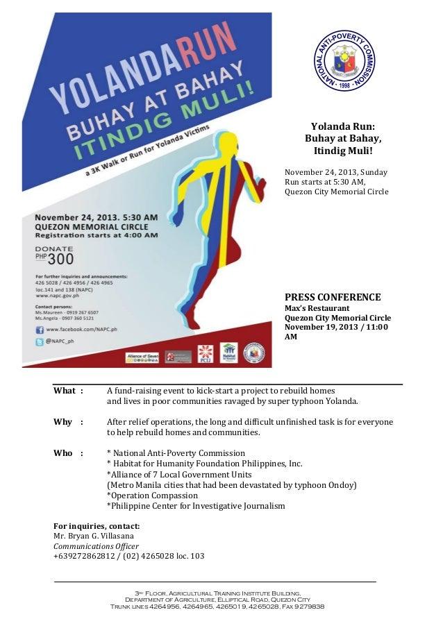 Yolanda Run: Buhay at Bahay, Itindig Muli! November 24, 2013, Sunday Run starts at 5:30 AM, Quezon City Memorial Circle  P...