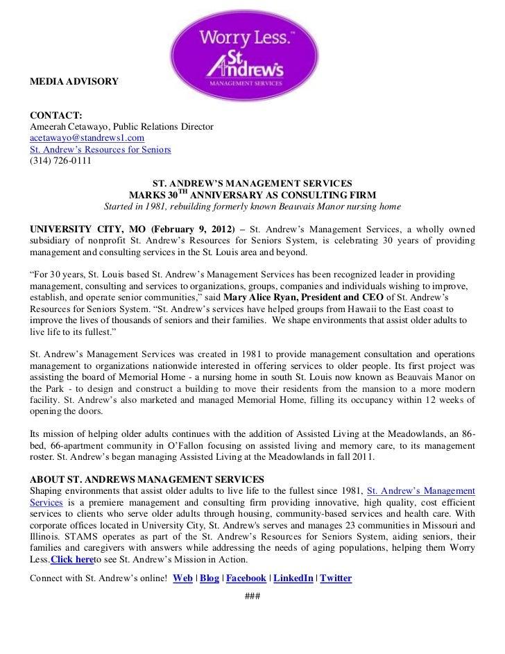 MEDIA ADVISORYCONTACT:Ameerah Cetawayo, Public Relations Directoracetawayo@standrews1.comSt. Andrew's Resources for Senior...
