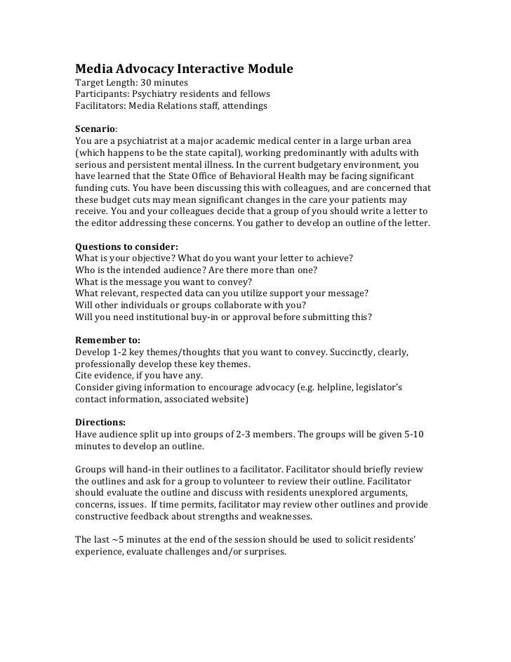 Media Advocacy Interactive ModuleTarget Length: 30 minutesParticipants: Psychiatry residents and fellowsFacilitators: Medi...